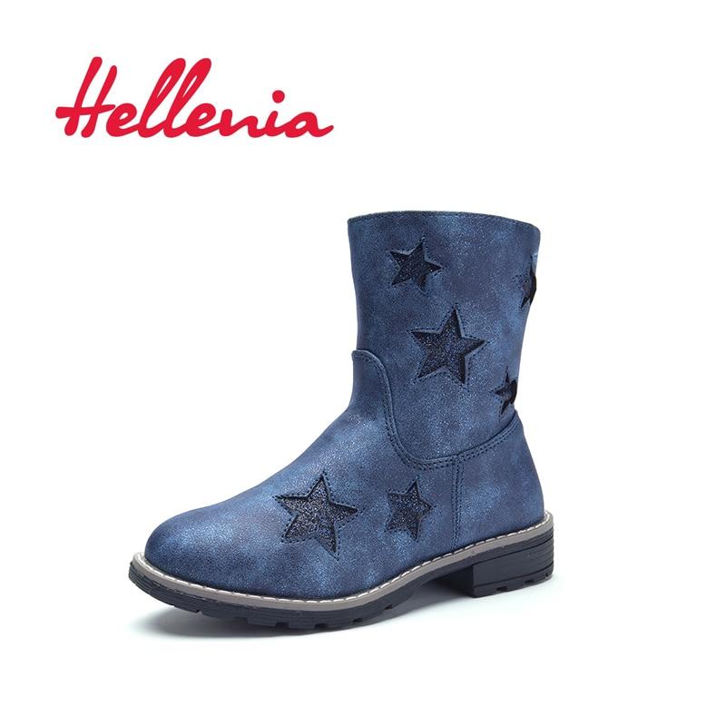 Hellenia printemps petites filles éco-cuir chaussure maille doublure enfants mode mi mollet botte garçons marque marine bling stars taille 24-29