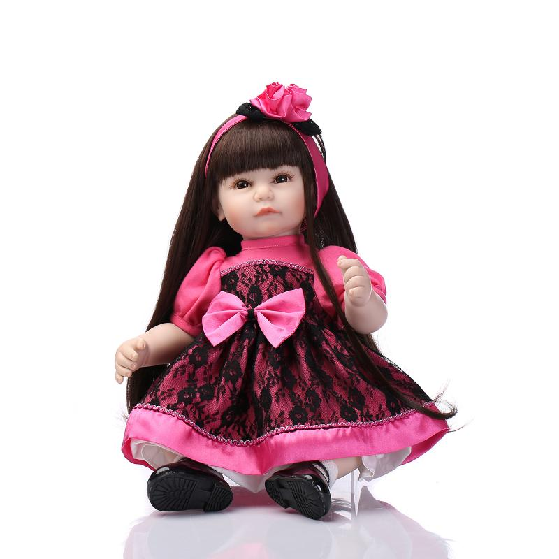 52CM Long Hair Reborn Toddler Baby Girl Doll 21 Newborn Girl Doll in Rose Black Princess Dress Girls Toys Birthday Xmas Gifts 2016 one shoulder ball gowns first communion dress flower girl dresses junior kid glitz pageant dress for wedding and party