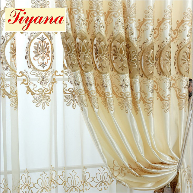 Modern Fancy good quality embroidered European curtains cloth voile ...