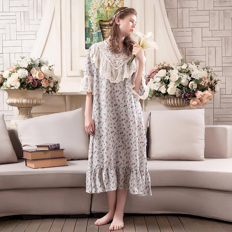 Lovely Princess Floral print Nightdress Female short Sleeve Cotton   Nightgowns   Lace Flower Women   Sleepshirts   s757