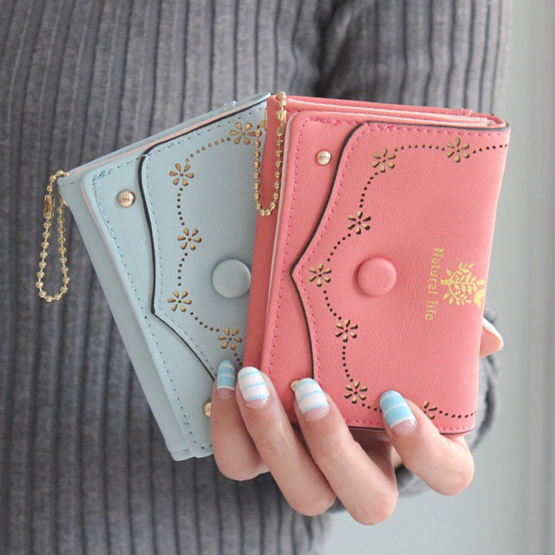 DUDINI New Fashion Design PU Leather Wallets Retro Hollow Carved Mimosa Ms. Wallet Short Mini Lady Clutch Card Purse 4 6