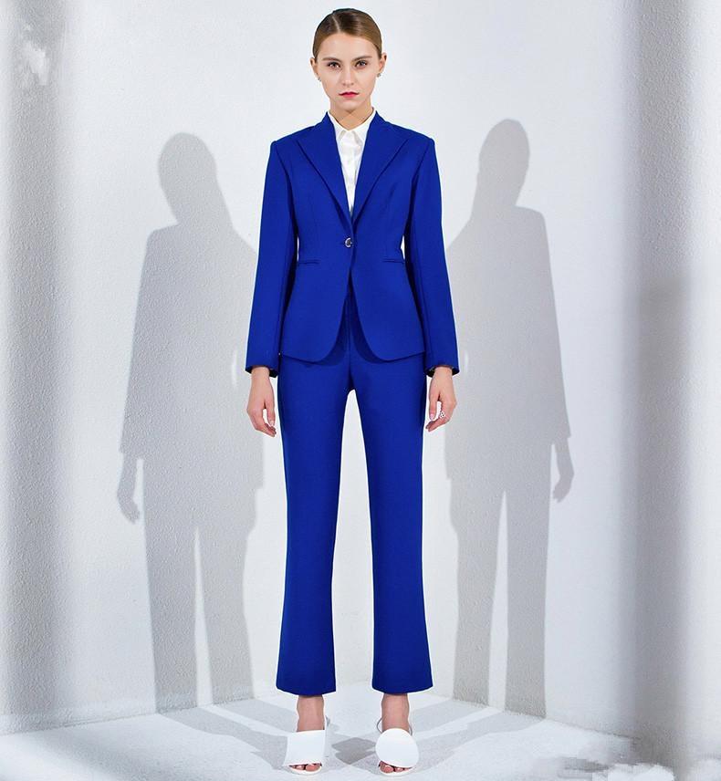 Royal Blue Work Bussiness Formal Elegant Women Suit Set Blazer Pants Office Suits Ladies Pants Suits Trouser Suits