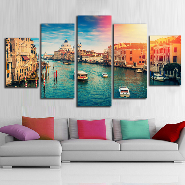 Venice City View Canvas Painting For Nordic Dining Room Decoration 5 Pieces Wall Art