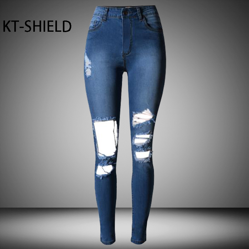 Women jeans High waist Skinny Elastic Leggings Pencil pants Solid color ripped Female Slim Cotton girl