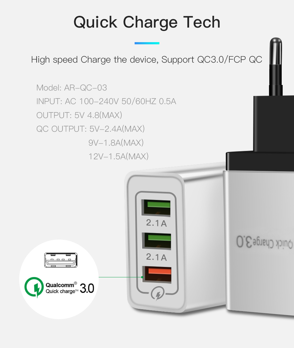 !ACCEZZ 18W USB Charger Quick Charge 3.0 For iphone 8 X Fast Charging For Samsung S8 S9 Huawei P30 Xiaomi EU Plug Phone Adapter (7)