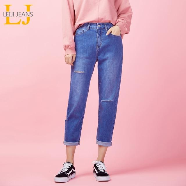 LEIJIJEANS new Pants waist low elastic high waist loose tapered women capris jeans cut high street ladies ankle women jeans 9029