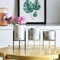 Vaso di Fiori economico Geometrica In Metallo Ceramica 2 pz/set Giardino di Casa Titolare Vaso-in Fioriere e vasi di fiori da Casa e giardino su