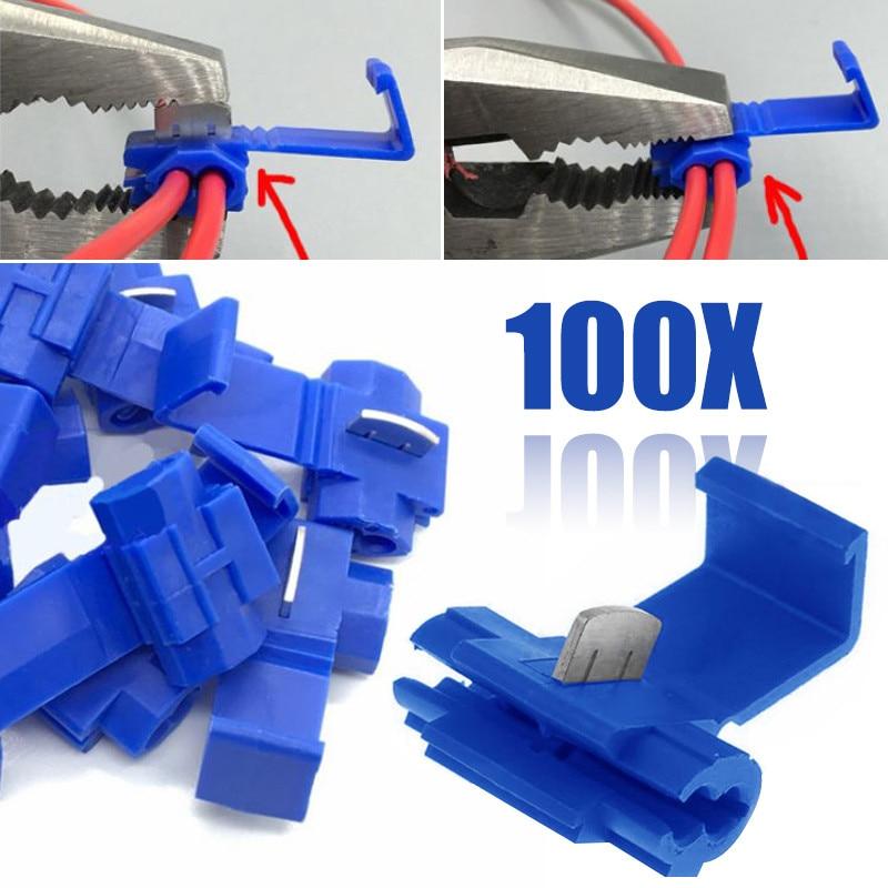 Mayitr 100pcs Blue Scotch Lock Wire Connectors High Performance Quick Splice Crimp Terminals for Crimp Electrical Part