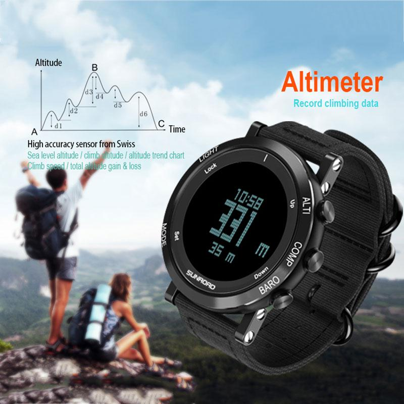 SUNROAD Outdoor Sport Digital Wrist Watch Waterproof Compass Altimeter Barometer Thermometer Date Alarm Pedometers EL backlight