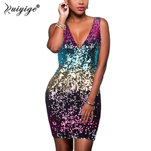 Ruiyige 2018 Summer Sexy Deep V-Neck Women mini Dress Sequins Fashion gradient Sleeveless tank back zipper above Knee robes