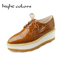 British Style Carved Muffin Bottom Brogue Shoes Woman Candy Colors Wedge Women Oxfords Cut Outs High