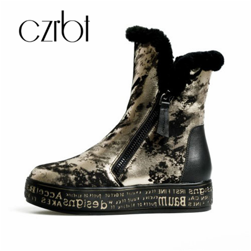 czrbt Genuine Leather Snow Boots Really Fur Boots Winter Warm Wool Snow Boots Women Golden Silvery Zipper Boots Woman Shoe cocoafoal women s wool snow boots woman ankle boots silvery winter snow boots flat with platform wool snow boots genuine leather