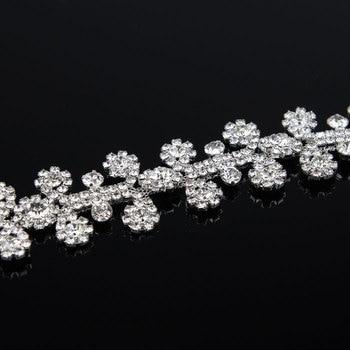 5Yards Diamante Rhinestone Trim Wedding Bridal Gold Silver Rose Gold Tone Crystal Applique Sash Belt