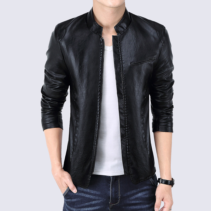 2018 Spring New Hot Mens Casual Leather Jacket Mens Fashion Pu Leather Jackets Large Size M-4XL
