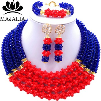 Trendy Nigeria Wedding Royal Blue and red african beads jewelry set crystal necklace bracelet earrings Free shipping Majalia-120