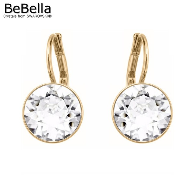 Bebella Mini Bella Pierced Earrings With Crystal From Swarovski Gold Color Plated Clear For Women