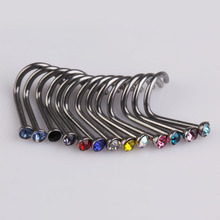 2017 Trendy 80pcs Mix Colors Rhinestone Nose Studs Ring Bone Bar Pin Piercing Jewelry for Women Men