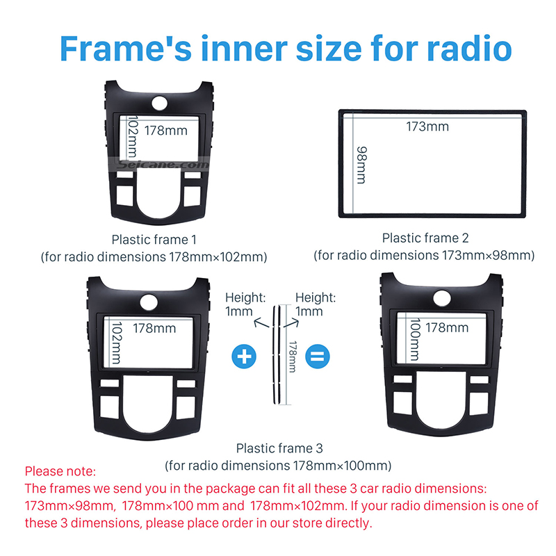 Seicane Double Din Car Radio Fascia Frame CD Trim Cover Kit Stereo Install  Dashboard Refitting Panel For 2009 KIA FORTE Auto AC