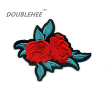 DOUBLEHEE 8.2cm*6.7cm Embroidered Iron On Patches 2 Red Rose Flowers With Leaves Design Motif T-shirt Applique Accessories