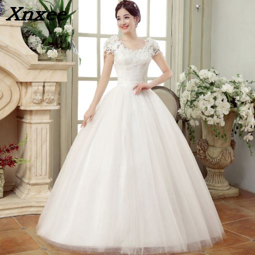 Xnxee Korean Lace Applique Ball Gowns Dresses 2018 Plus Size Bridal Dress Princess Wedding Gown Real Photo in Dresses from Women 39 s Clothing