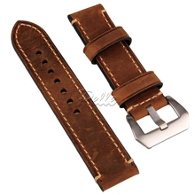 цены Pelle Brown 20mm 22mm 24mm Vintage Mens Genuine Leather Replacement Watch Strap Band Stainless Steel Buckle