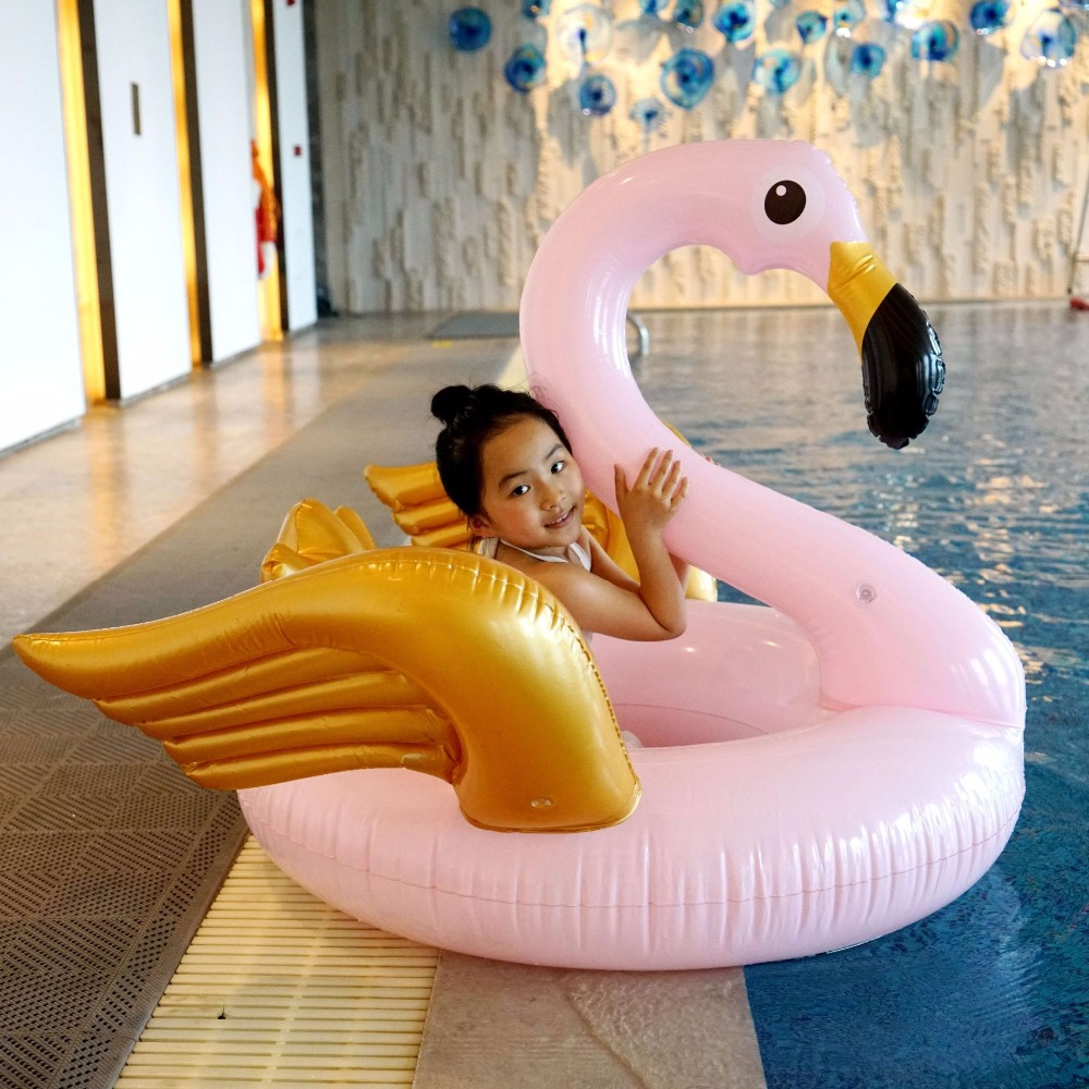 130cm Giant Pink Flamingo Gold Wing Swimming Ring 2018 Inflatable Pool Float For Adult Children Water Floating Beach Party Toys