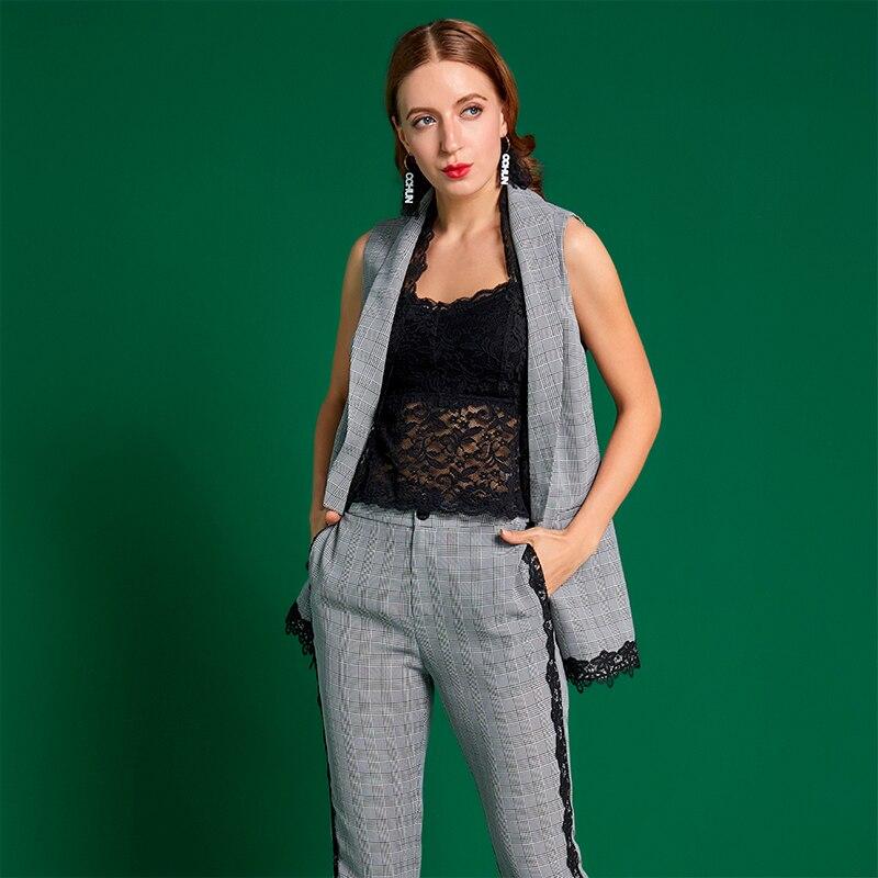 Couture Début Style taille Pantalon Haute Cchun2019 Points Au Neuf Femmes Du Nouveau Treillis Printemps Dentelle nfxY58qw5z