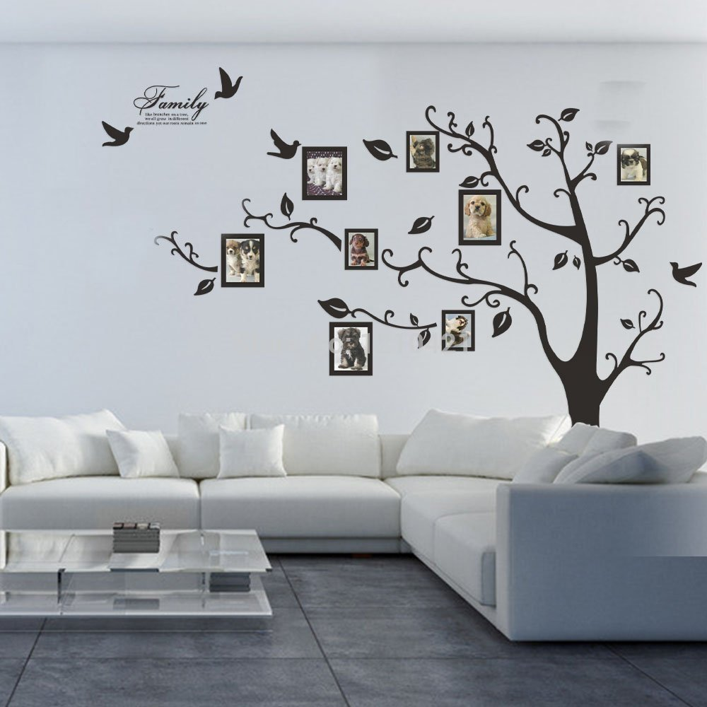free shipping 80 x 100 huge xxl photo frame family tree removable wall stickers vinyl art. Black Bedroom Furniture Sets. Home Design Ideas