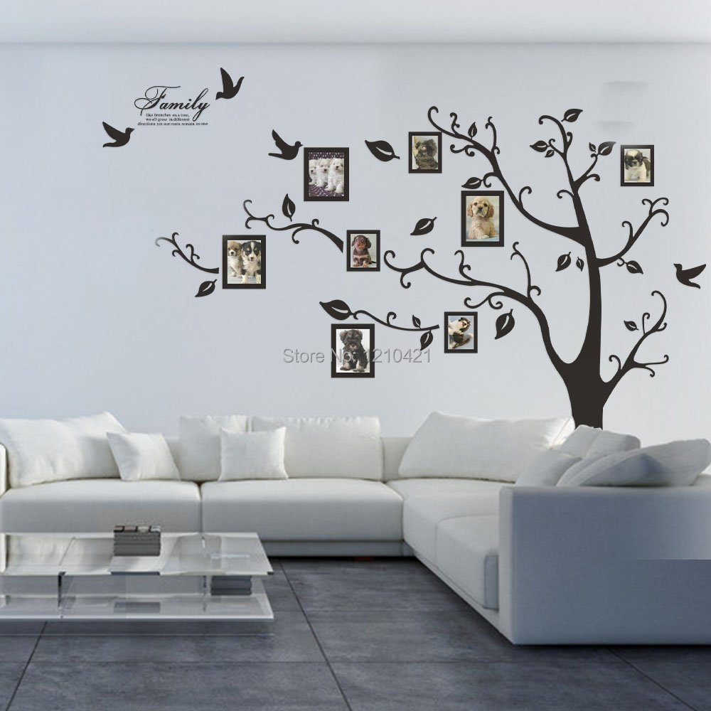 Picture frame family tree wall art tree decals trendy wall designs - Free Shipping 80 X 100 Huge Xxl Photo Frame Family Tree Removable Wall Stickers