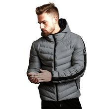 Down Jacket 2018 Winter Puffer Jacket Men Hooded Long Sleeve Grey Plus