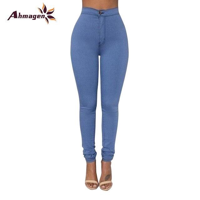 a60c117f7 € 11.16 |Ahmagen Nueva Moda 2017 Elástica Delgada Push Up Jeans Ajustados  mujer Lápiz Pantalones de Mezclilla de Cintura Alta Mujeres Pantalones ...