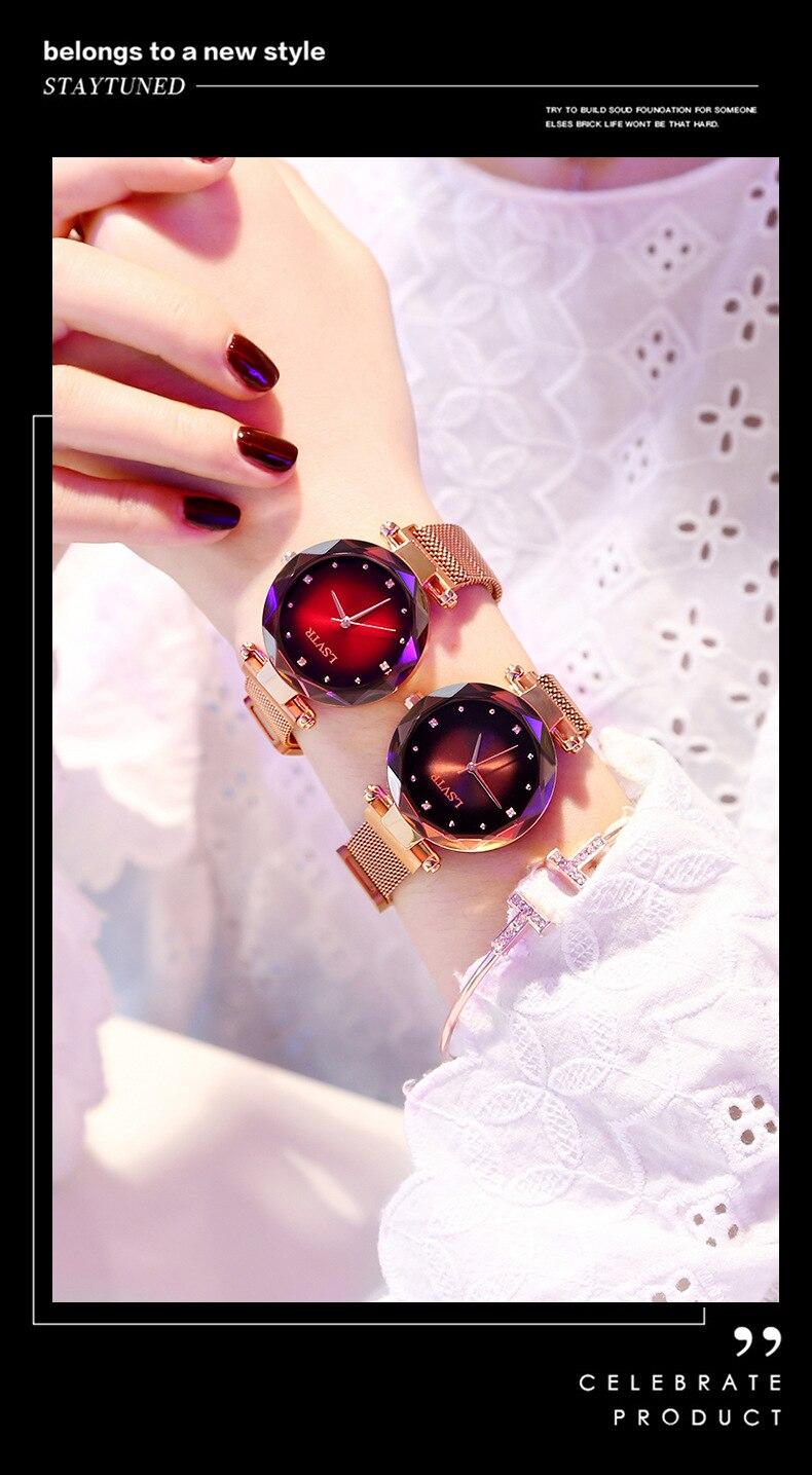 2019 Luxury Rose Gold Watches Women Bracelet Fashion Diamond Ladies Dress Starry Sky Magnetic Quartz Wristwatch relogio feminino