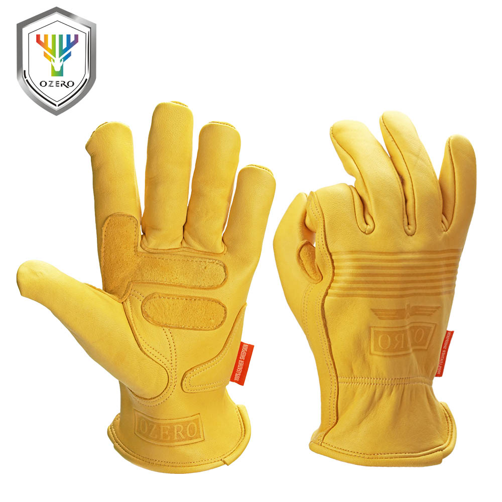 OZERO Work Gloves Working Hand-type Protective Welding Garden Antistatic Fishing Safety Goat Leather Work Gloves For Men 0009
