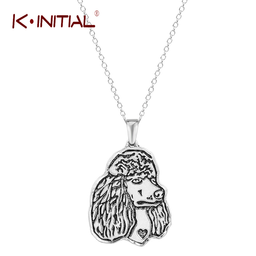 Kinitial Giant Poodle Silhouette Pet Dog Tag Breed Collar Charm Pendant Necklace Poodle  ...