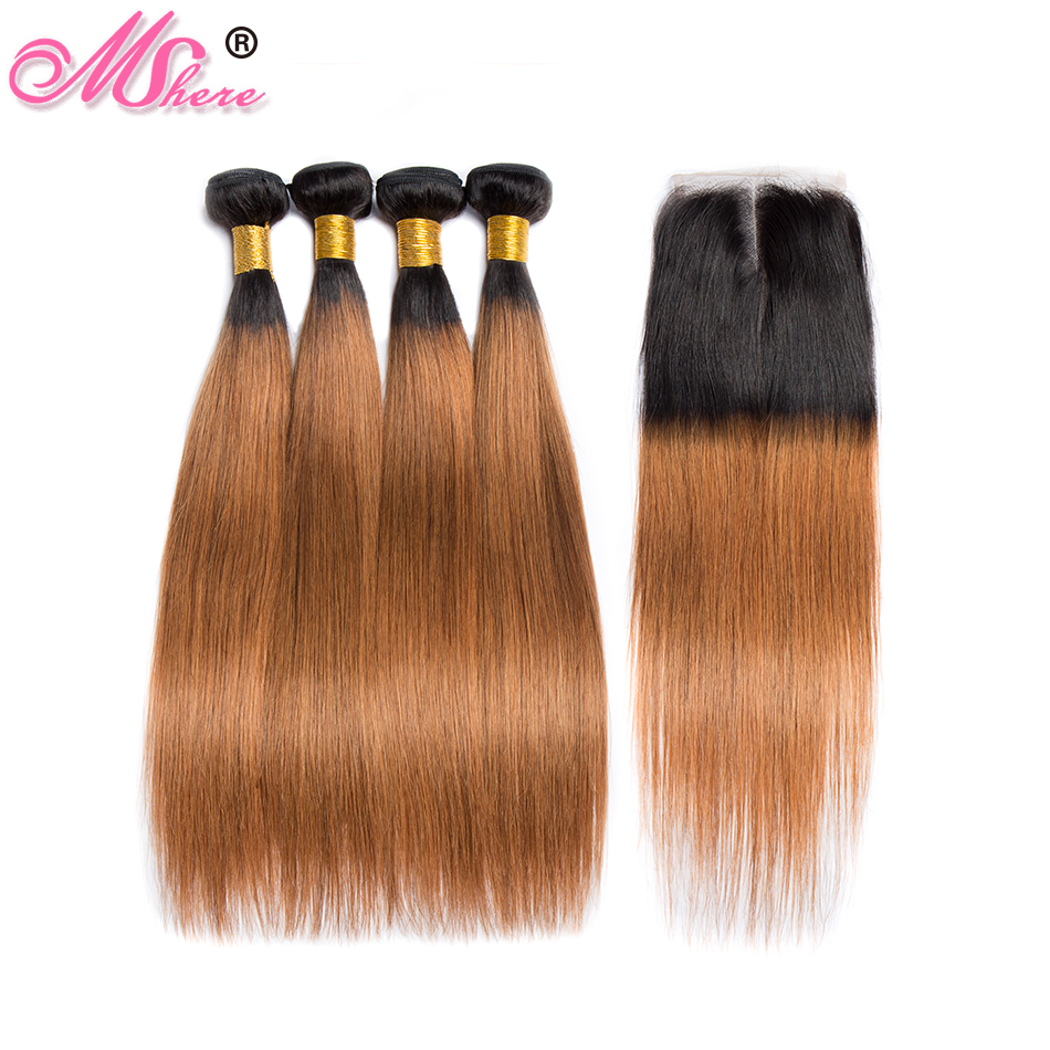Mshere Straight Ombre Hair 3 4 Bundles With Closure 1B 30 Peruvian Human Hair Weave Bundles