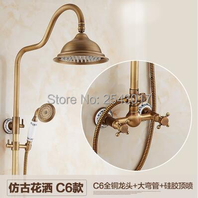 Free Shipping Classic Shower Set Antique Brass Finish Wall Mounted Dual Handle with Handheld Shower and 8 Rain Shower Head ZR15