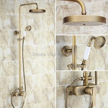 Antique Brass Wall Mounted Single Handle Mixer Tap / Bathroom Rain Shower Faucet Set with Hand Spray + Round Shower Head Wrs178