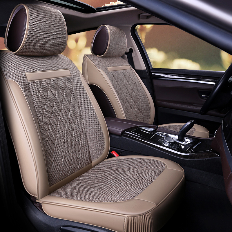 Green Material Fresh Comfortable Cushion Detachable Back Diamond Lattice Car Seat Cover