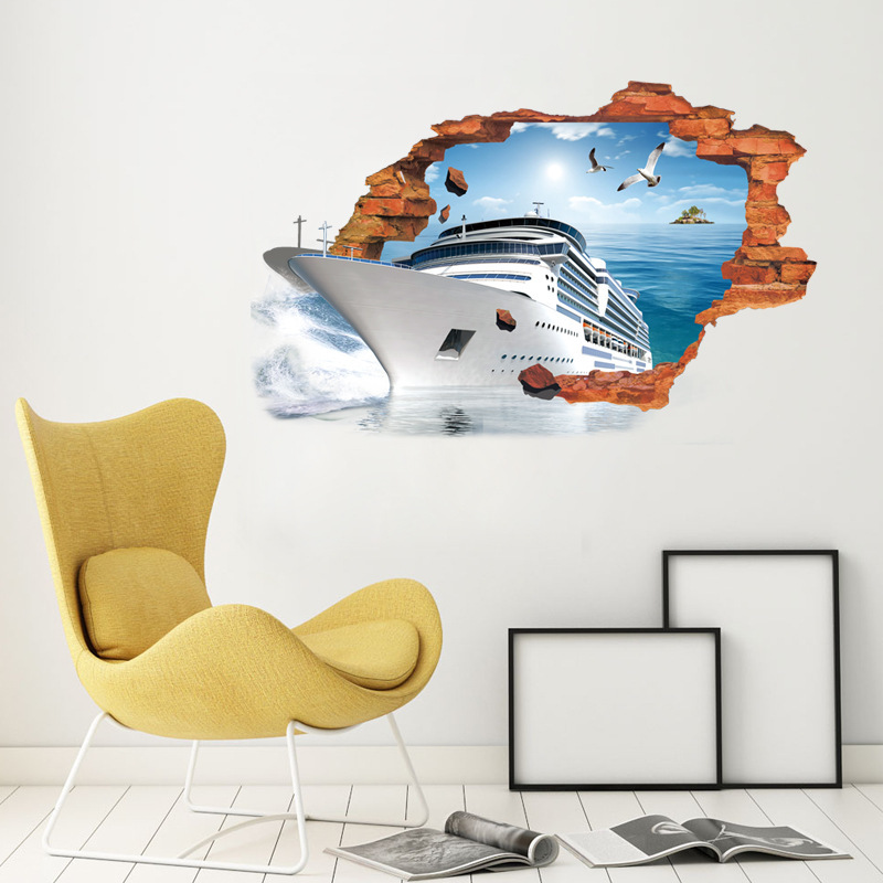 Buy broken wall ship 3d wall stickers for Bedroom 3d wall stickers