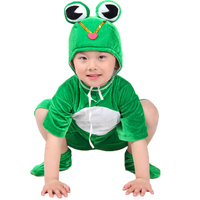 Children's Day Kids Animals Cosplay Costumes Frog Costume Wear Stage Dancewear for Boys and Girls Green Hoodies+Pants+Shoes
