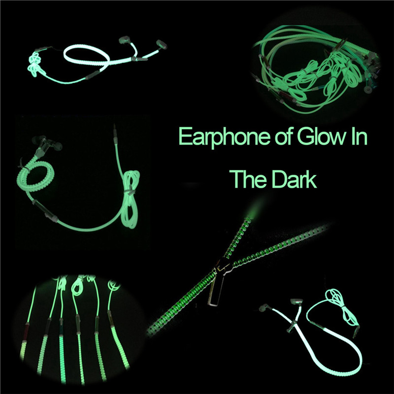 New Luminous Earphones Metal Fashion Sports Earphone Glow in the Dark Headset Light with Mic for Xiaomi Mobile Phone 6 7 Samsung гарнитура skullcandy ink d with mic dark red s2ikhy 481