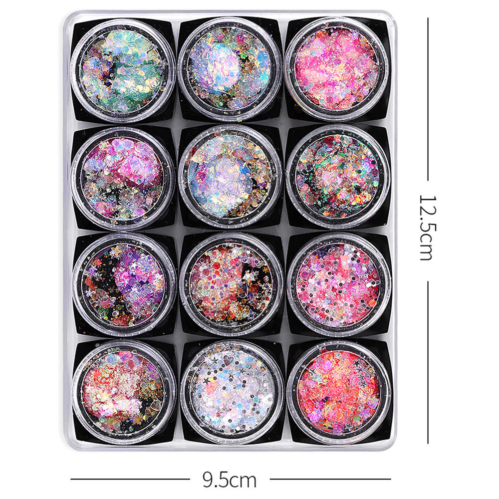 One Set Of 12 Bottles Shiny Nail Glitter Chunky Sequins Colorful Tips for Nail Hair Face Eyes Body Art