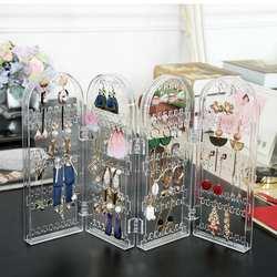 Складной серьги хранения держатель стойки Jewelry Дисплей Косметические Box Макияж Организатор акриловый прозрачный Органайзер 4 слоя
