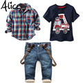 2016 Children's Clothing Sets for Spring Baby Boy Suit Long Sleeve Plaid Shirts+car Printing T-shirt+jeans 3pcs Suit Set F1802