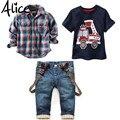 2016 Conjuntos de Ropa Para Niños de Primavera Traje de Bebé de Manga Larga Camisas de Tela Escocesa + coche de Impresión t-shirt + jeans 3 unids Juego F1802