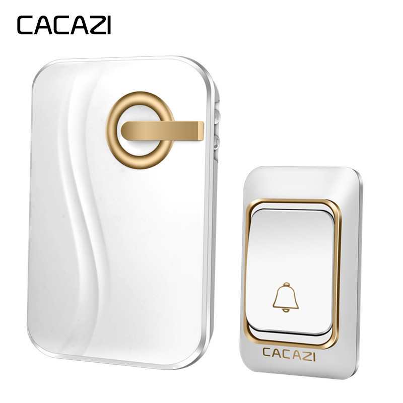CACAZI Wireless Doorbell DC Battery-operated 200M Remote Waterproof 1 Transmitter 1 Receiver 36 Rings Door Chime Cordless Bell