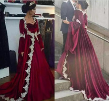 2018 Dark Red Evening Dress With Long Sleeve Middle East Saudi Arabic Dubai Prom Lace Appliques Formal Party gown Mother dresses
