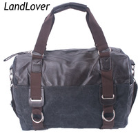 Men's black canvas travel bag PU leather duffle bag LandLover bags