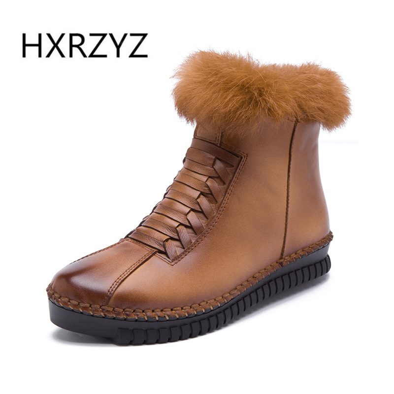 ФОТО HXRZYZ fashion genuine leather rabbit hair shoes women winter boots short ankle snow women winter flat shoes woman zipper boots