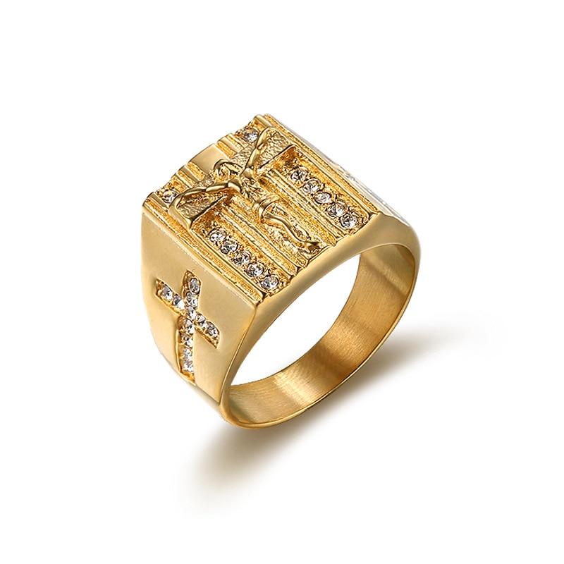 US 6 to15 size Vintage Gold color Holy Cross Signet Ring Prayer Christian Jesus White Cub Zirconia Wedding Finger Ring